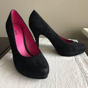 M.P.S. Black Suede Heels